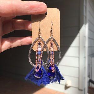 Rose Gold and Tassel Embellished Earrings